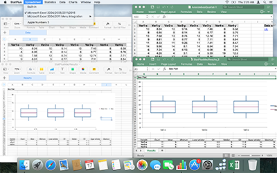 Box plot reports for add-in mode with Excel 2016 and Apple Numbers 3.