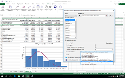 Descriptive statistics report with histogram and data input window.