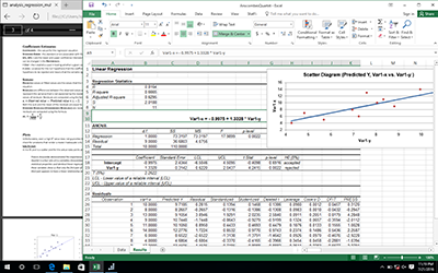 Linear regression report with scatterplot.